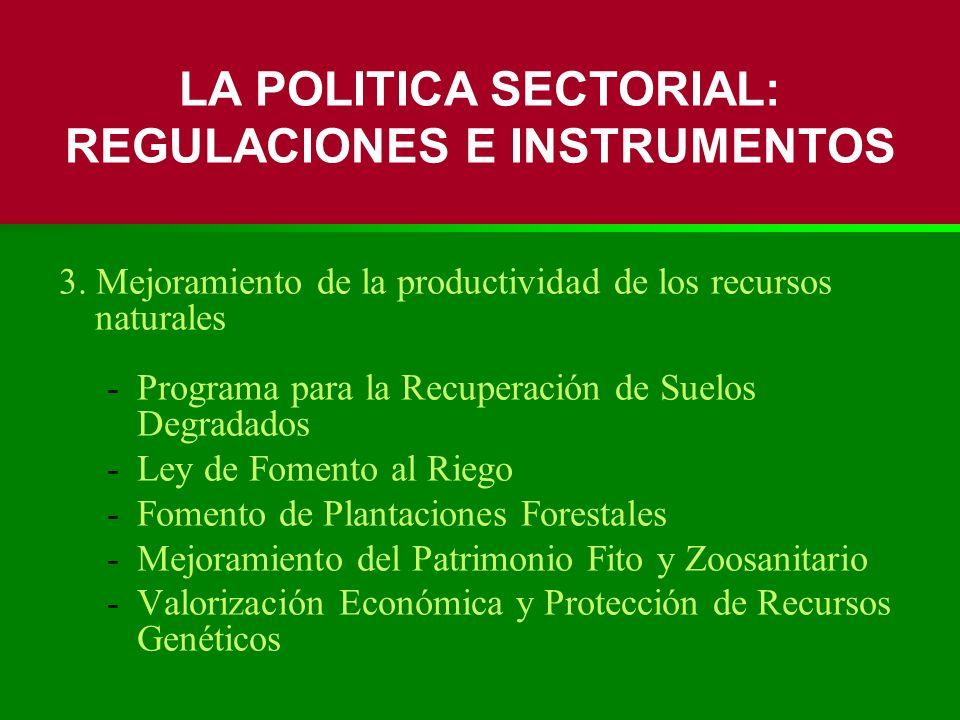 3. Mejoramiento de la productividad de los recursos naturales -Programa para la Recuperación de Suelos Degradados -Ley de Fomento al Riego -Fomento de