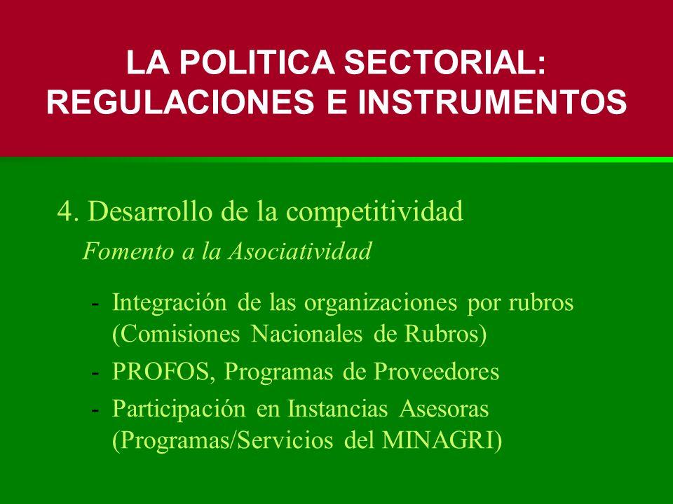 4. Desarrollo de la competitividad Fomento a la Asociatividad -Integración de las organizaciones por rubros (Comisiones Nacionales de Rubros) -PROFOS,