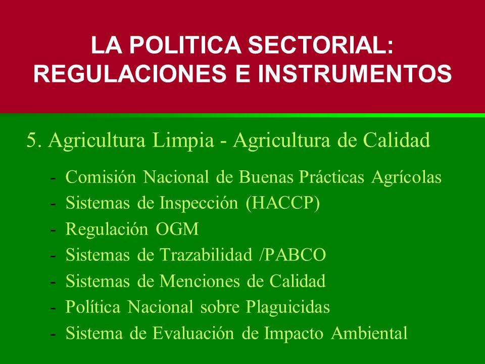 5. Agricultura Limpia - Agricultura de Calidad -Comisión Nacional de Buenas Prácticas Agrícolas -Sistemas de Inspección (HACCP) -Regulación OGM -Siste