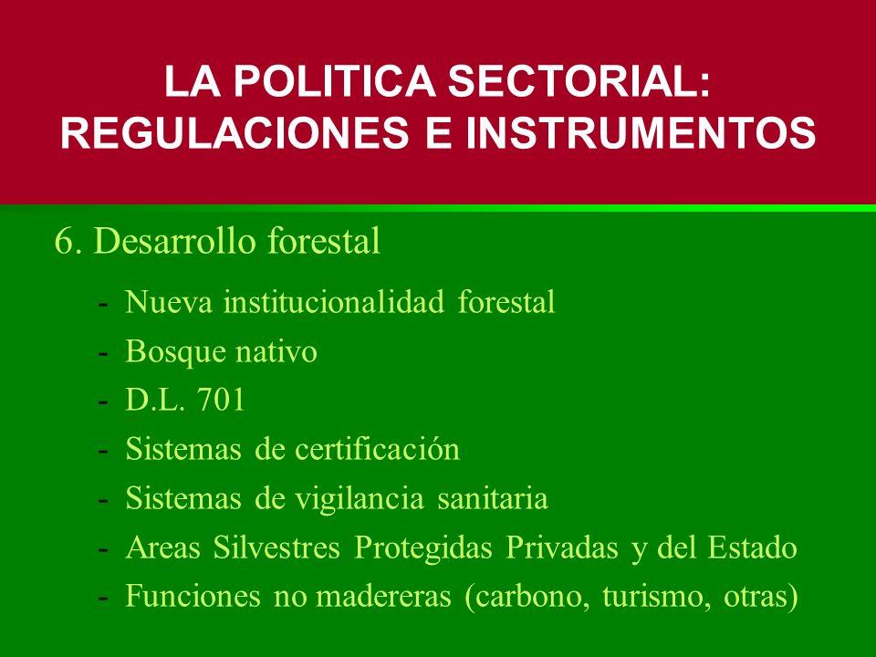 6. Desarrollo forestal -Nueva institucionalidad forestal -Bosque nativo -D.L. 701 -Sistemas de certificación -Sistemas de vigilancia sanitaria -Areas