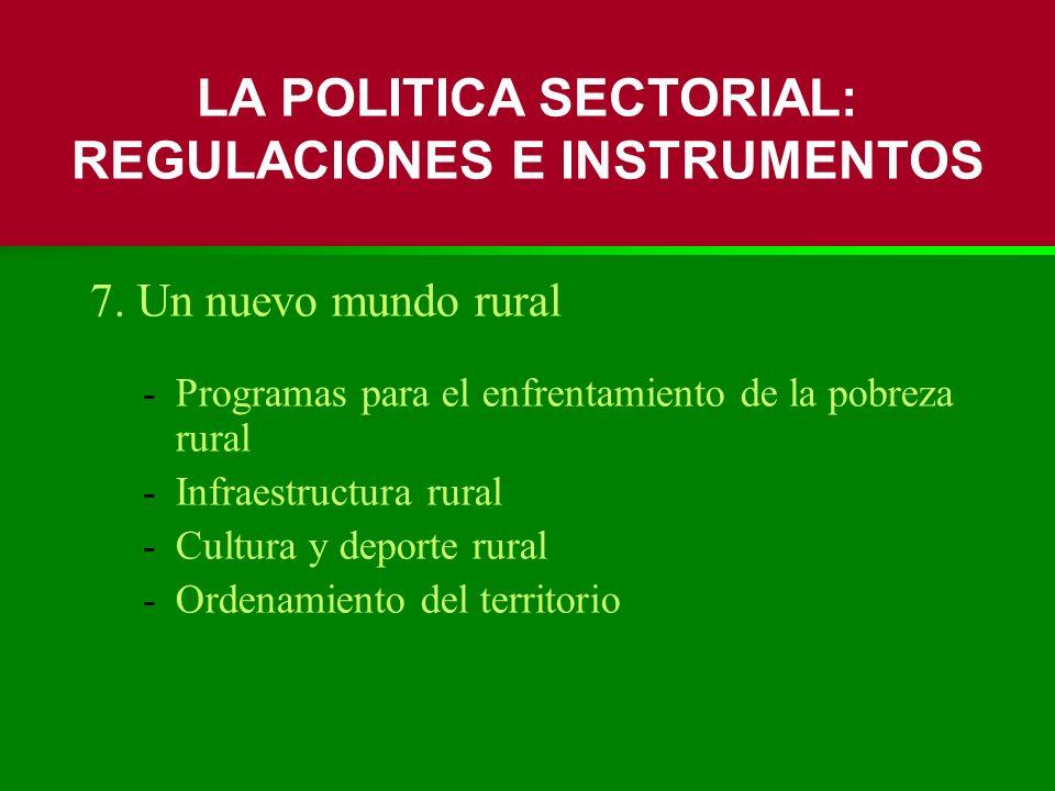 7. Un nuevo mundo rural -Programas para el enfrentamiento de la pobreza rural -Infraestructura rural -Cultura y deporte rural -Ordenamiento del territ