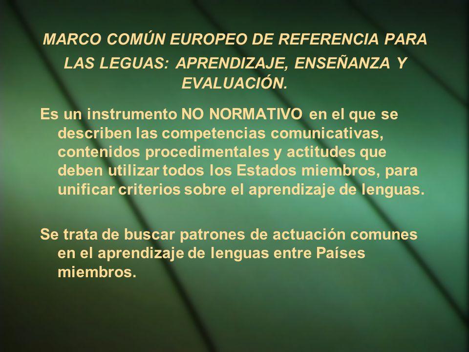 MARCO COMÚN EUROPEO DE REFERENCIA PARA LAS LEGUAS: APRENDIZAJE, ENSEÑANZA Y EVALUACIÓN. Es un instrumento NO NORMATIVO en el que se describen las comp