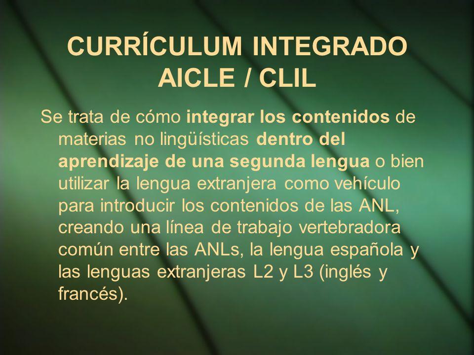 CURRÍCULUM INTEGRADO AICLE / CLIL Se trata de cómo integrar los contenidos de materias no lingüísticas dentro del aprendizaje de una segunda lengua o bien utilizar la lengua extranjera como vehículo para introducir los contenidos de las ANL, creando una línea de trabajo vertebradora común entre las ANLs, la lengua española y las lenguas extranjeras L2 y L3 (inglés y francés).