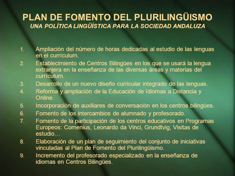 PLAN DE FOMENTO DEL PLURILINGÜISMO UNA POLÍTICA LINGÜÍSTICA PARA LA SOCIEDAD ANDALUZA 1.