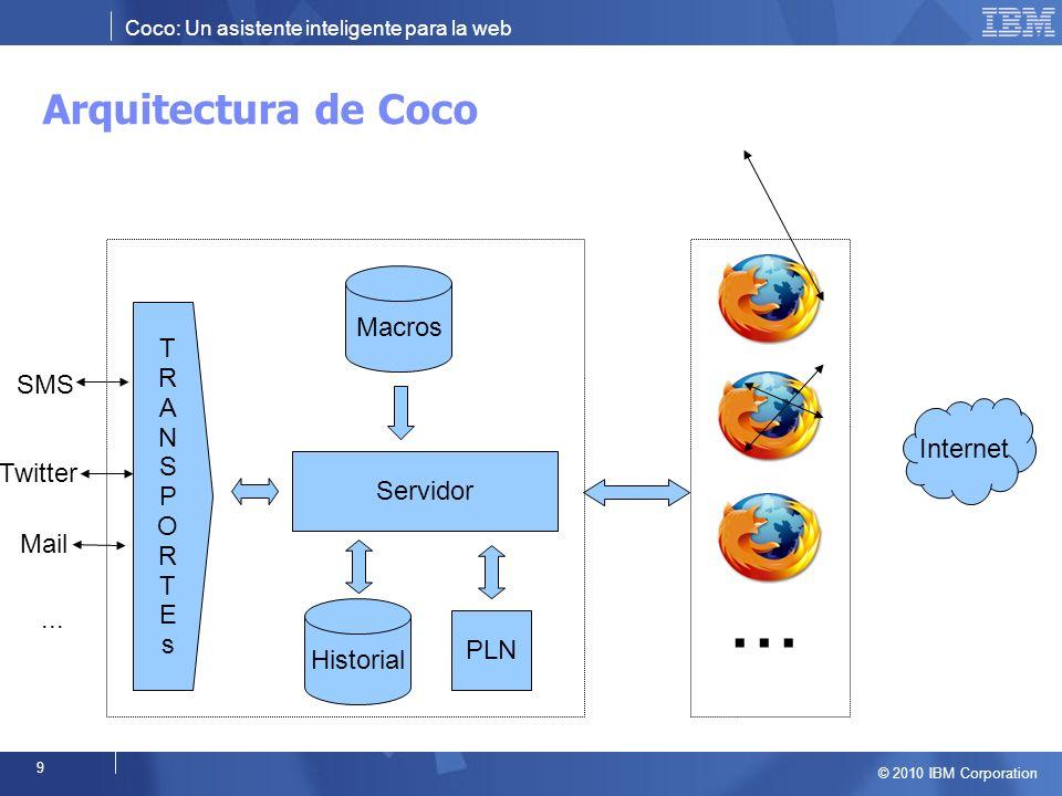 Coco: Un asistente inteligente para la web © 2010 IBM Corporation 9 Arquitectura de Coco...