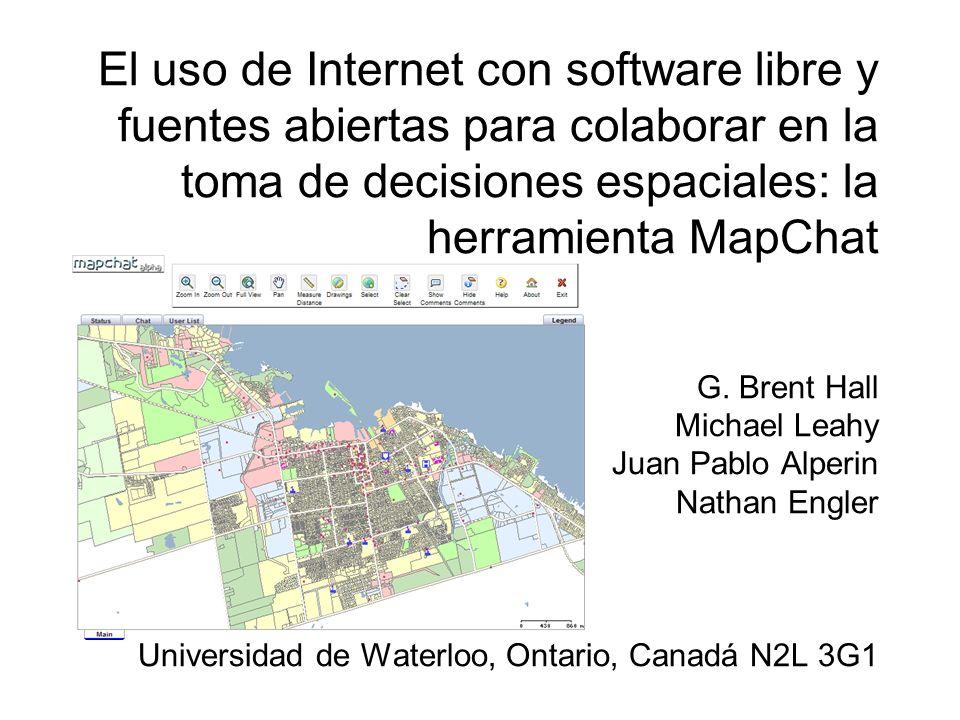 Introducción MapServer/Chameleon y PostgreSQL/PostGIS El proyecto MapChat –Racional y Objetivos del proyecto –Arquitectura básica –Flujo de la aplicaron –La colaboración sincronía en línea para problemas espaciales de planificación Ejemplo con la aplicación Conclusión