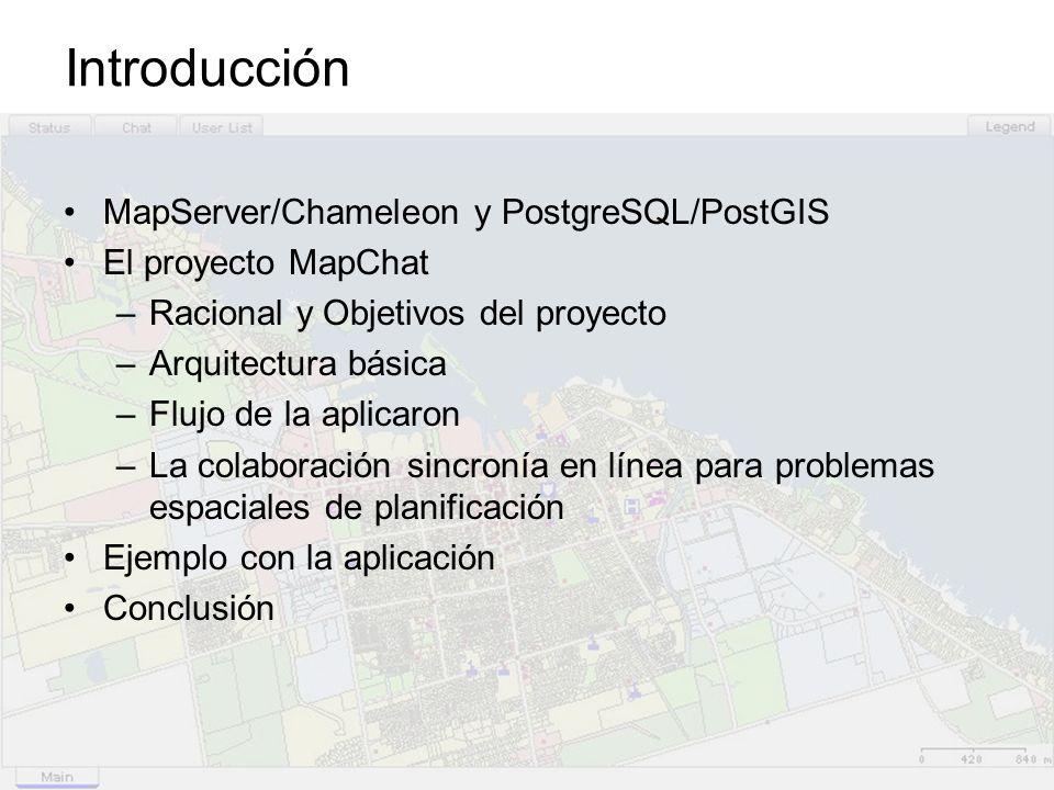 Introducción MapServer/Chameleon y PostgreSQL/PostGIS El proyecto MapChat –Racional y Objetivos del proyecto –Arquitectura básica –Flujo de la aplicar