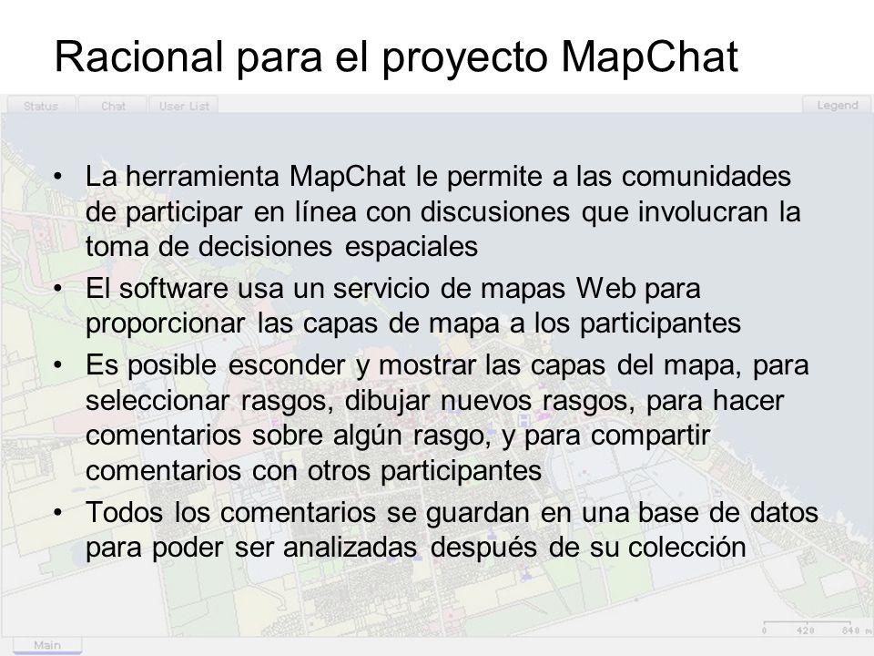 Racional para el proyecto MapChat La herramienta MapChat le permite a las comunidades de participar en línea con discusiones que involucran la toma de