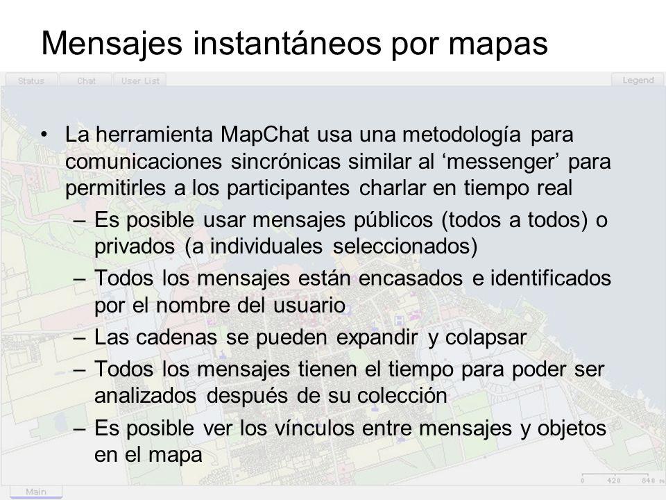 Mensajes instantáneos por mapas La herramienta MapChat usa una metodología para comunicaciones sincrónicas similar al messenger para permitirles a los participantes charlar en tiempo real –Es posible usar mensajes públicos (todos a todos) o privados (a individuales seleccionados) –Todos los mensajes están encasados e identificados por el nombre del usuario –Las cadenas se pueden expandir y colapsar –Todos los mensajes tienen el tiempo para poder ser analizados después de su colección –Es posible ver los vínculos entre mensajes y objetos en el mapa