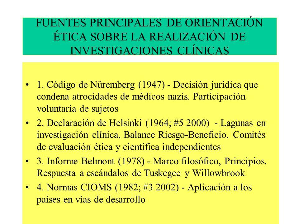 FUENTES PRINCIPALES DE ORIENTACIÓN ÉTICA SOBRE LA REALIZACIÓN DE INVESTIGACIONES CLÍNICAS 1.