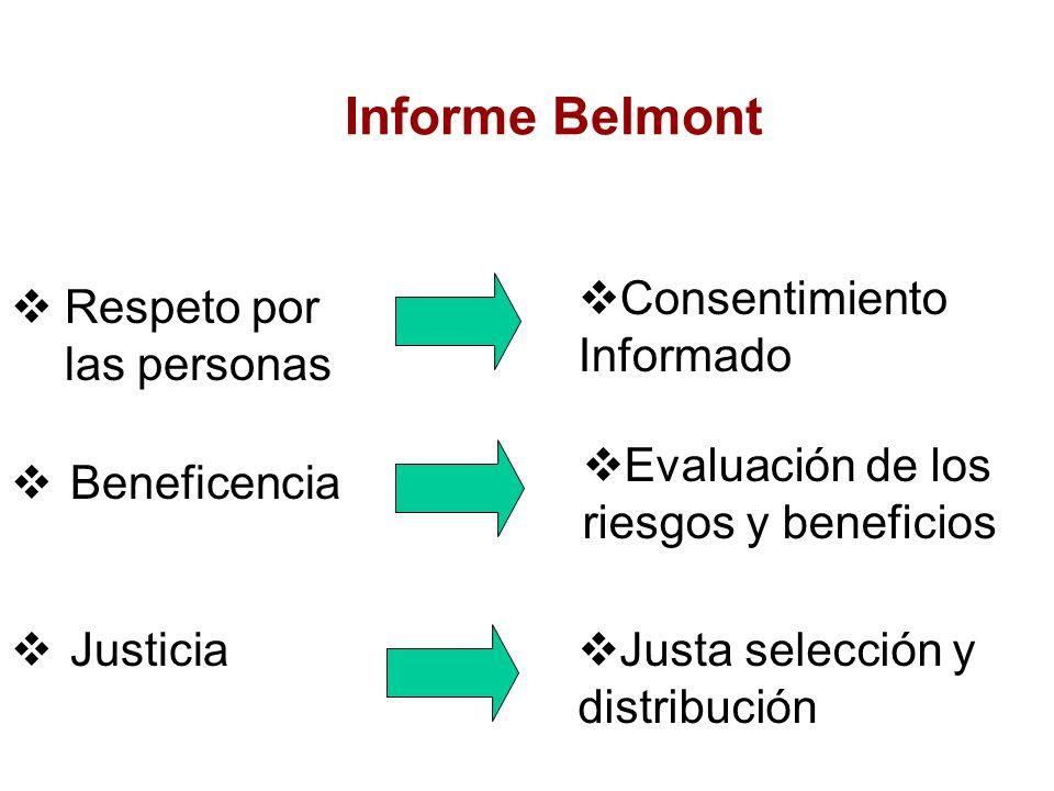 Informe Belmont Respeto por las personas Consentimiento Informado Beneficencia Justicia Evaluación de los riesgos y beneficios Justa selección y distribución