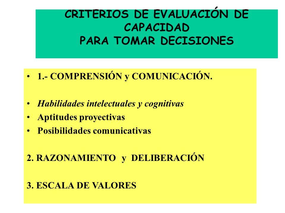 CRITERIOS DE EVALUACIÓN DE CAPACIDAD PARA TOMAR DECISIONES 1.- COMPRENSIÓN y COMUNICACIÓN.