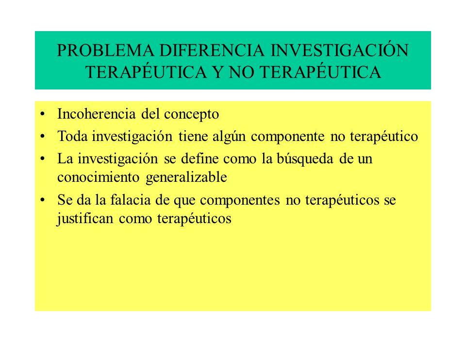 PROBLEMA DIFERENCIA INVESTIGACIÓN TERAPÉUTICA Y NO TERAPÉUTICA Incoherencia del concepto Toda investigación tiene algún componente no terapéutico La investigación se define como la búsqueda de un conocimiento generalizable Se da la falacia de que componentes no terapéuticos se justifican como terapéuticos