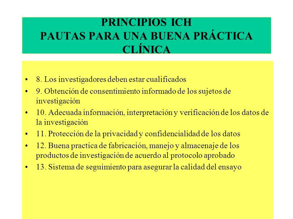 PRINCIPIOS ICH PAUTAS PARA UNA BUENA PRÁCTICA CLÍNICA 8.