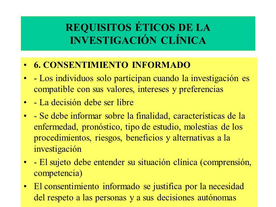 REQUISITOS ÉTICOS DE LA INVESTIGACIÓN CLÍNICA 6.