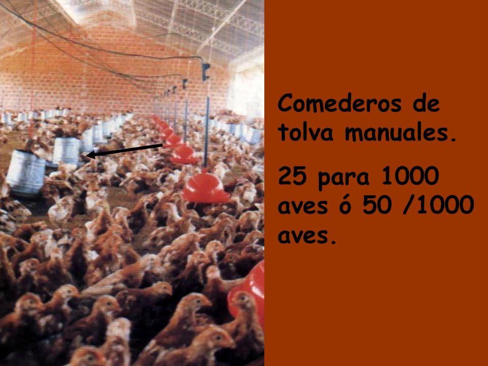 Comederos de tolva manuales. 25 para 1000 aves ó 50 /1000 aves.
