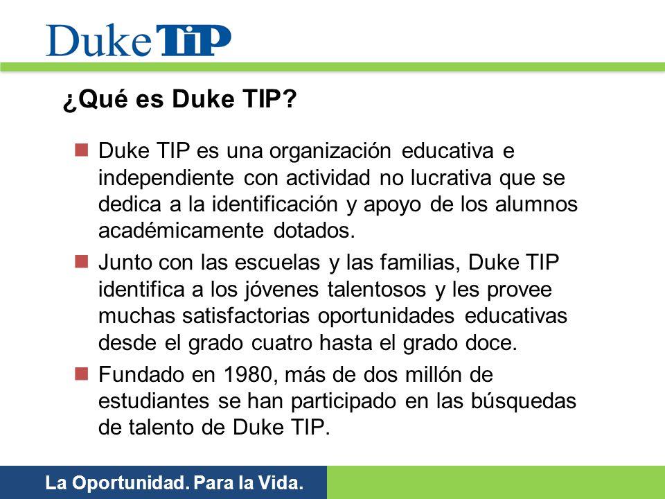 Duke TIP es una organización educativa e independiente con actividad no lucrativa que se dedica a la identificación y apoyo de los alumnos académicame