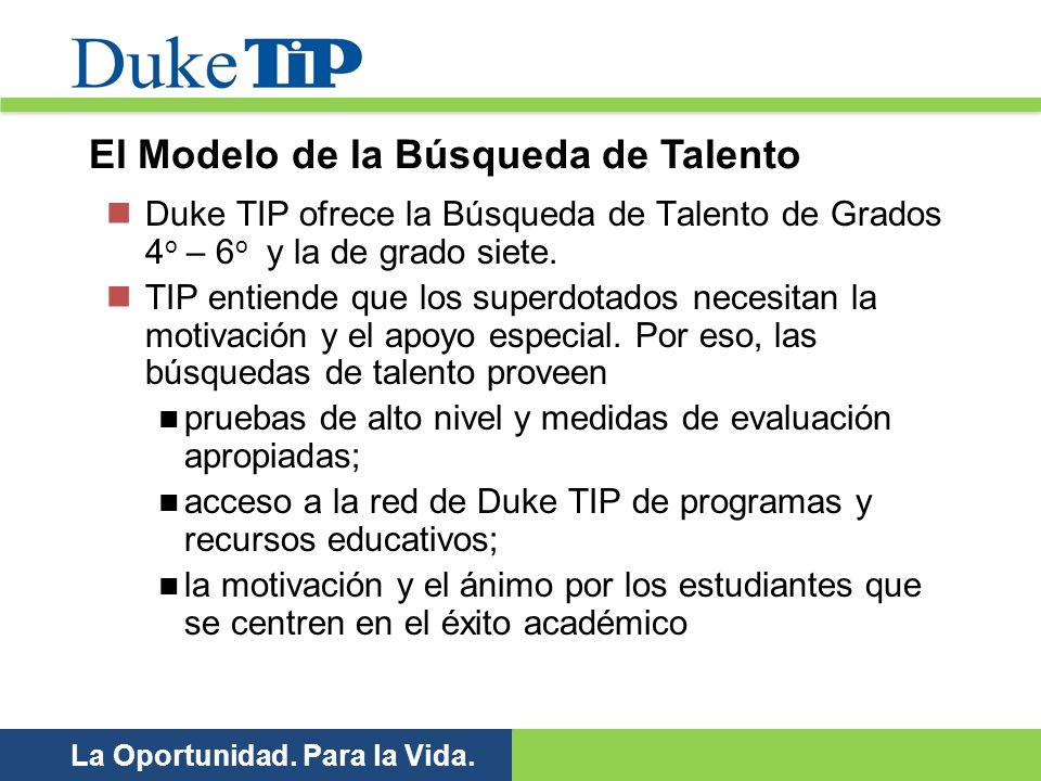 La Oportunidad. Para la Vida. Duke TIP ofrece la Búsqueda de Talento de Grados 4 o – 6 o y la de grado siete. TIP entiende que los superdotados necesi