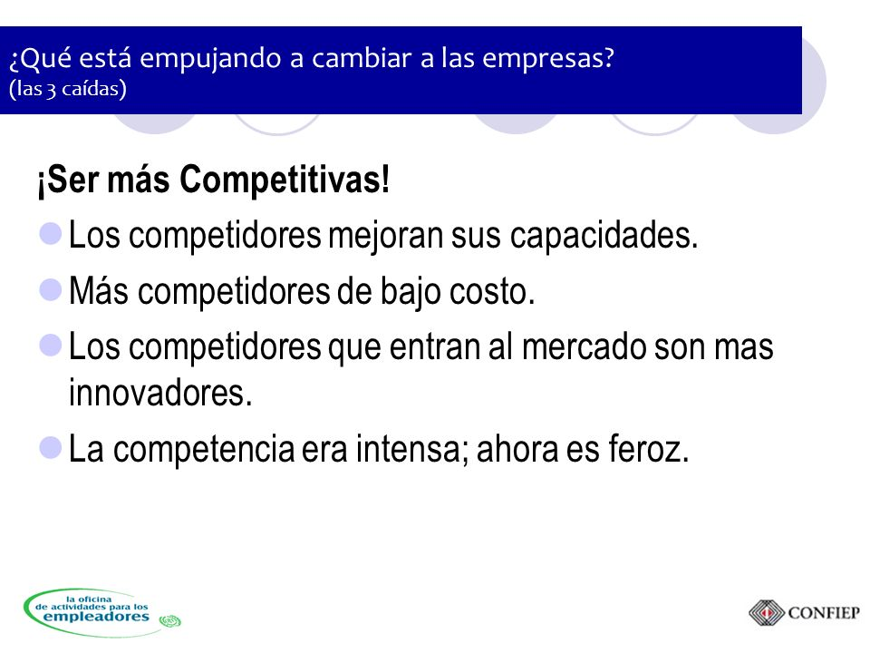 ¿Qué está empujando a cambiar a las empresas. (las 3 caídas) ¡Ser más Competitivas.