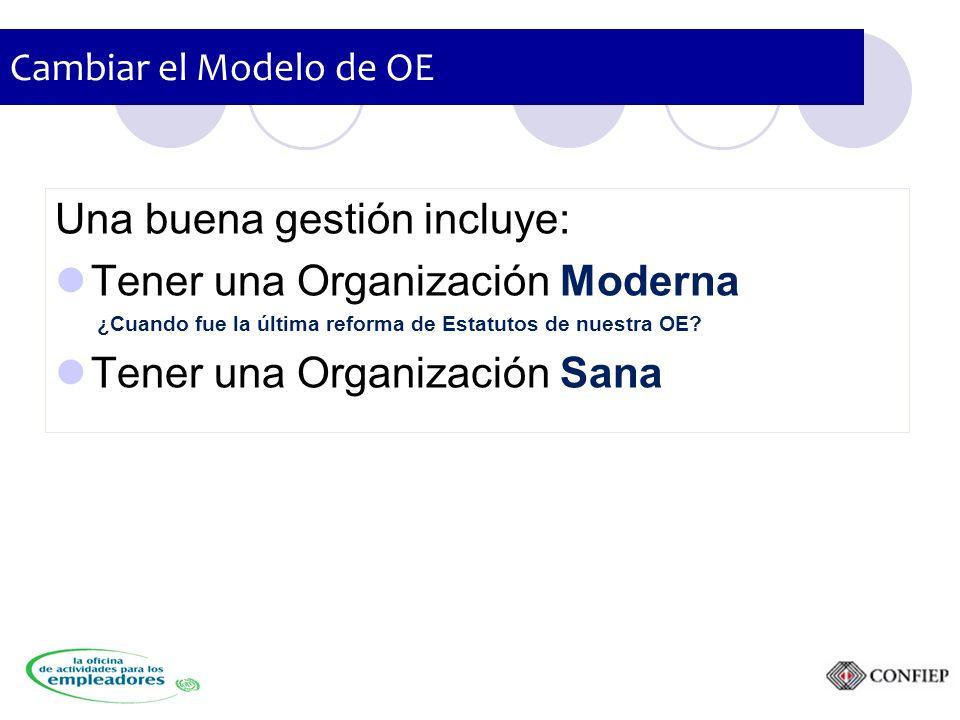 Cambiar el Modelo de OE Una buena gestión incluye: Tener una Organización Moderna ¿Cuando fue la última reforma de Estatutos de nuestra OE.
