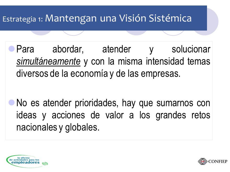 Estrategia 1: Mantengan una Visión Sistémica Para abordar, atender y solucionar simultáneamente y con la misma intensidad temas diversos de la economía y de las empresas.
