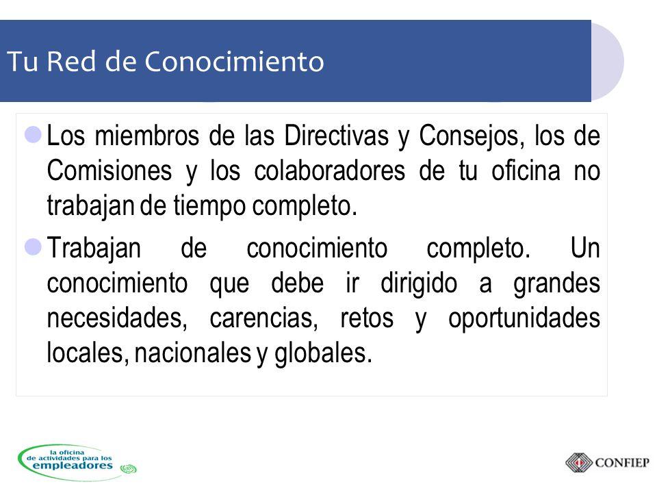 Tu Red de Conocimiento Los miembros de las Directivas y Consejos, los de Comisiones y los colaboradores de tu oficina no trabajan de tiempo completo.