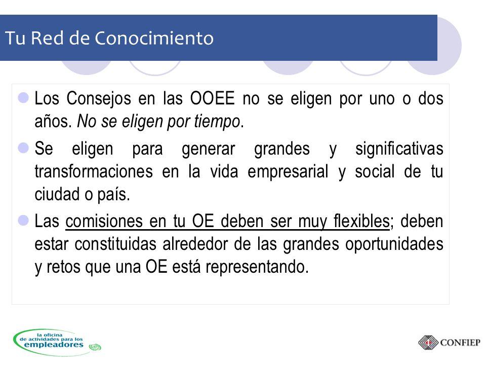 Tu Red de Conocimiento Los Consejos en las OOEE no se eligen por uno o dos años.