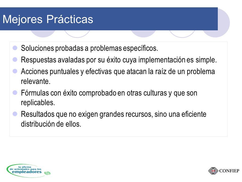 Mejores Prácticas Soluciones probadas a problemas específicos.