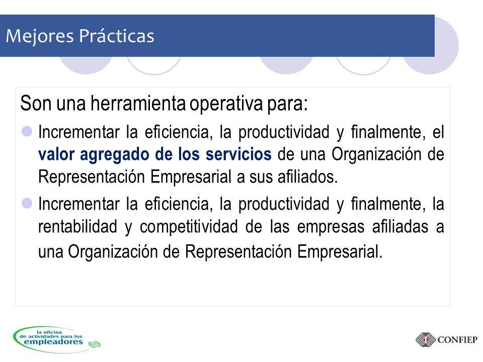 Mejores Prácticas Son una herramienta operativa para: Incrementar la eficiencia, la productividad y finalmente, el valor agregado de los servicios de una Organización de Representación Empresarial a sus afiliados.