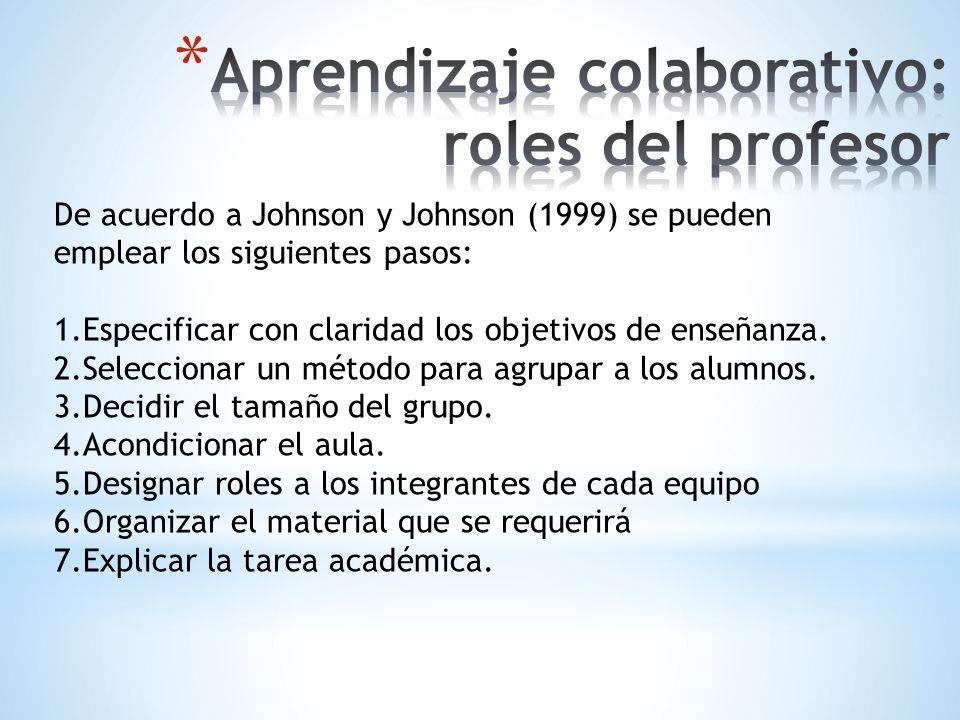 De acuerdo a Johnson y Johnson (1999) se pueden emplear los siguientes pasos: 1.Especificar con claridad los objetivos de enseñanza. 2.Seleccionar un