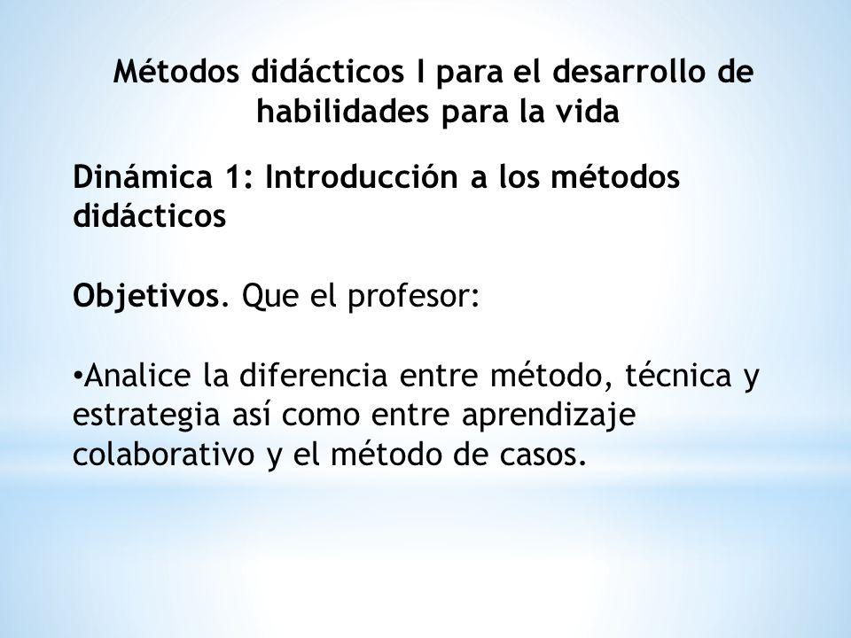 Métodos didácticos I para el desarrollo de habilidades para la vida Dinámica 1: Introducción a los métodos didácticos Objetivos. Que el profesor: Anal