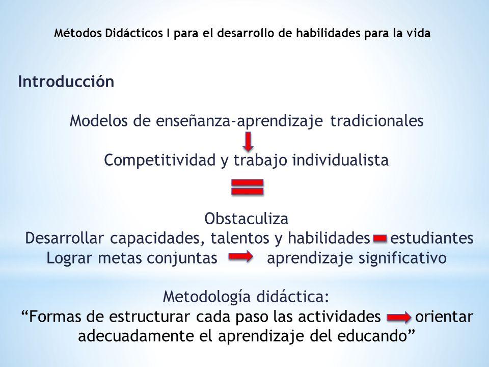 Introducción Modelos de enseñanza-aprendizaje tradicionales Competitividad y trabajo individualista Obstaculiza Desarrollar capacidades, talentos y ha