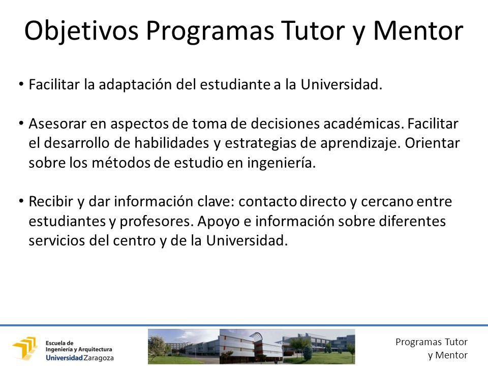 Programas Tutor y Mentor Facilitar la adaptación del estudiante a la Universidad.