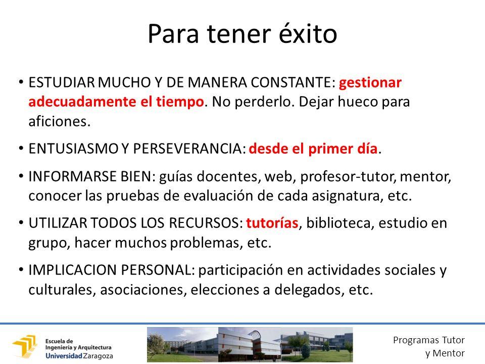 Programas Tutor y Mentor ESTUDIAR MUCHO Y DE MANERA CONSTANTE: gestionar adecuadamente el tiempo.