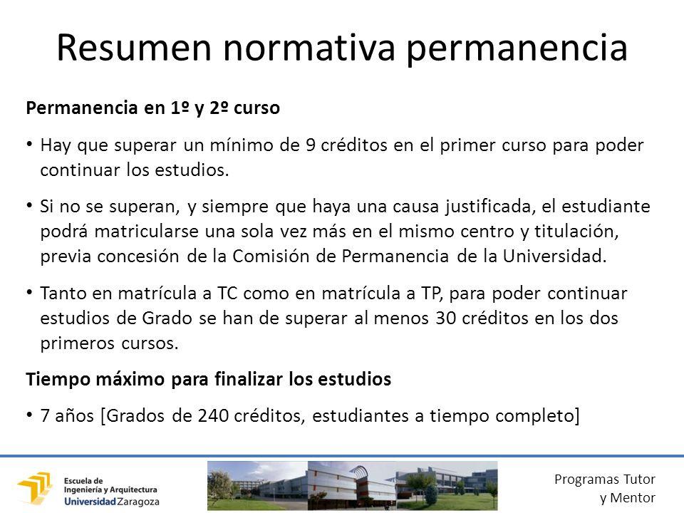 Programas Tutor y Mentor Permanencia en 1º y 2º curso Hay que superar un mínimo de 9 créditos en el primer curso para poder continuar los estudios.