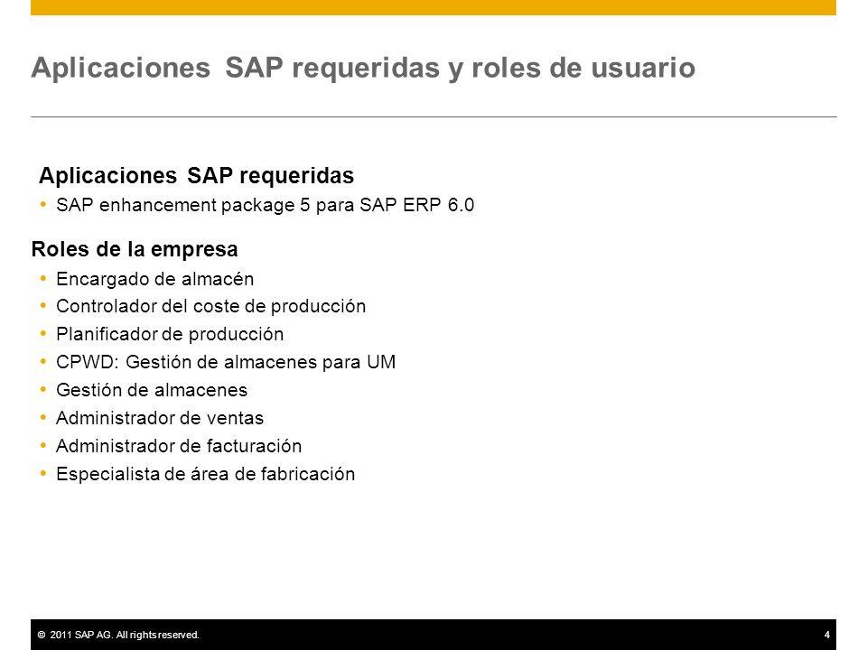 ©2011 SAP AG. All rights reserved.4 Aplicaciones SAP requeridas y roles de usuario Aplicaciones SAP requeridas SAP enhancement package 5 para SAP ERP