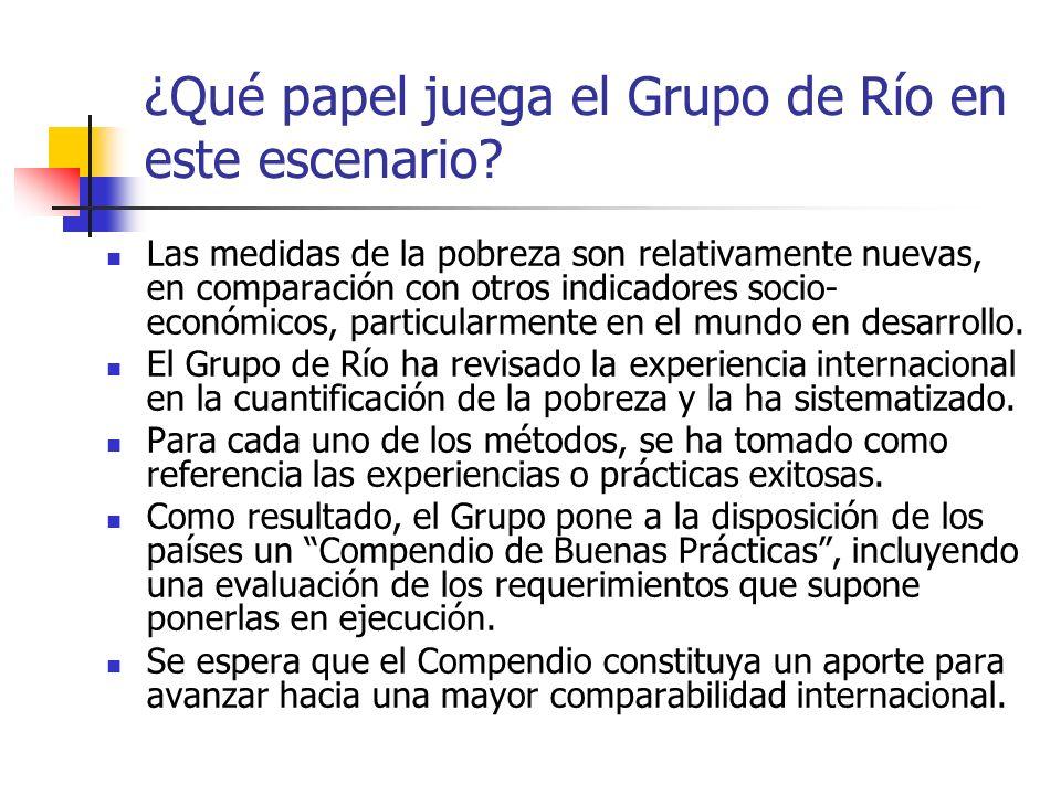 ¿Qué papel juega el Grupo de Río en este escenario? Las medidas de la pobreza son relativamente nuevas, en comparación con otros indicadores socio- ec