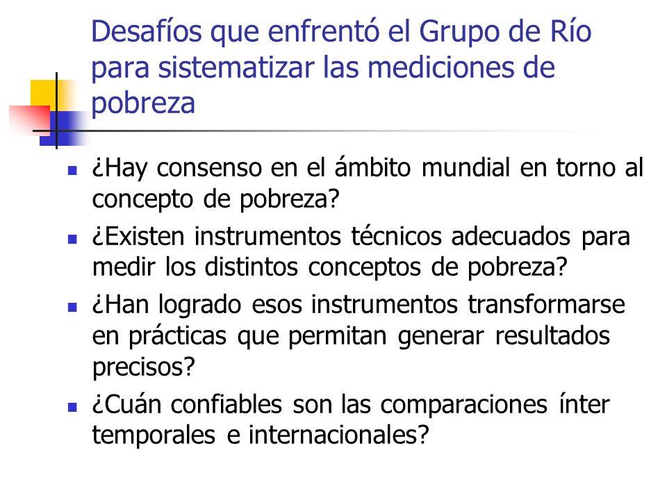 Desafíos que enfrentó el Grupo de Río para sistematizar las mediciones de pobreza ¿Hay consenso en el ámbito mundial en torno al concepto de pobreza?