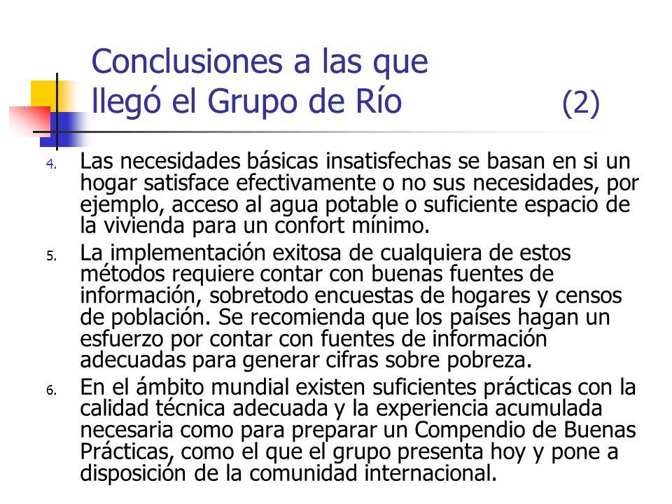 Conclusiones a las que llegó el Grupo de Río (2) 4. Las necesidades básicas insatisfechas se basan en si un hogar satisface efectivamente o no sus nec