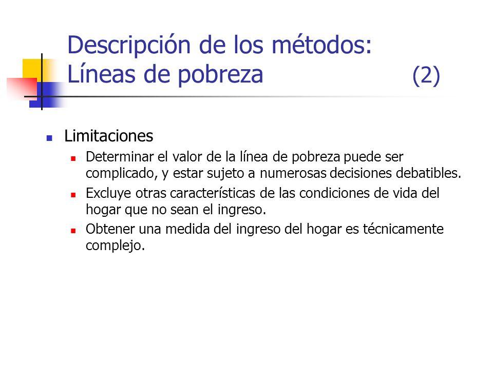 Descripción de los métodos: Líneas de pobreza (2) Limitaciones Determinar el valor de la línea de pobreza puede ser complicado, y estar sujeto a numer