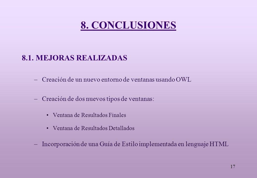 17 8. CONCLUSIONES 8.1.