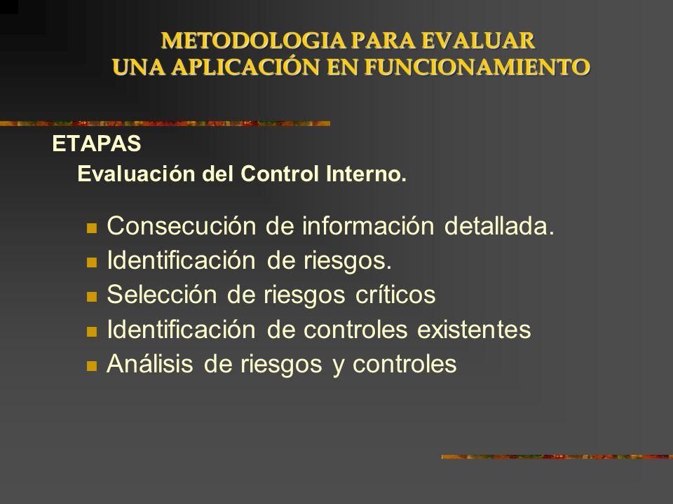 ETAPAS Evaluación del Control Interno. Consecución de información detallada. Identificación de riesgos. Selección de riesgos críticos Identificación d