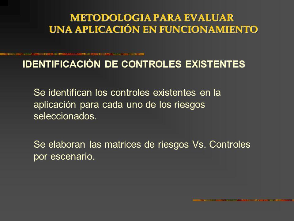 IDENTIFICACIÓN DE CONTROLES EXISTENTES Se identifican los controles existentes en la aplicación para cada uno de los riesgos seleccionados. Se elabora