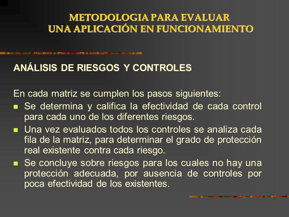 ANÁLISIS DE RIESGOS Y CONTROLES En cada matriz se cumplen los pasos siguientes: Se determina y califica la efectividad de cada control para cada uno d