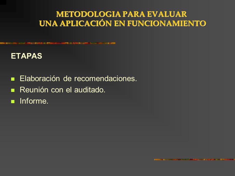 ETAPAS Elaboración de recomendaciones. Reunión con el auditado. Informe. METODOLOGIA PARA EVALUAR UNA APLICACIÓN EN FUNCIONAMIENTO