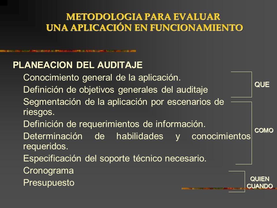 PLANEACION DEL AUDITAJE Conocimiento general de la aplicación. Definición de objetivos generales del auditaje Segmentación de la aplicación por escena