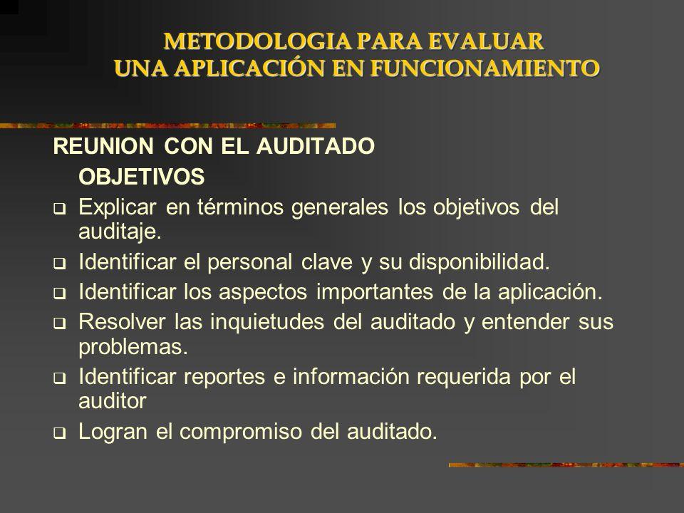 REUNION CON EL AUDITADO OBJETIVOS Explicar en términos generales los objetivos del auditaje. Identificar el personal clave y su disponibilidad. Identi