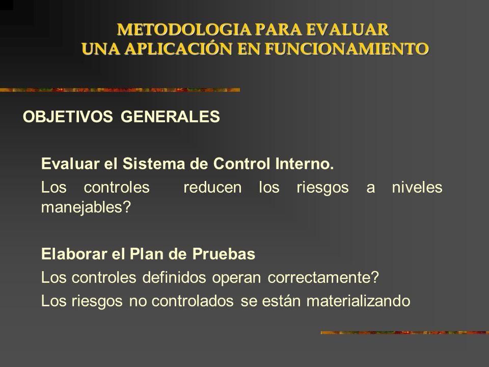 OBJETIVOS GENERALES Evaluar el Sistema de Control Interno. Los controles reducen los riesgos a niveles manejables? Elaborar el Plan de Pruebas Los con