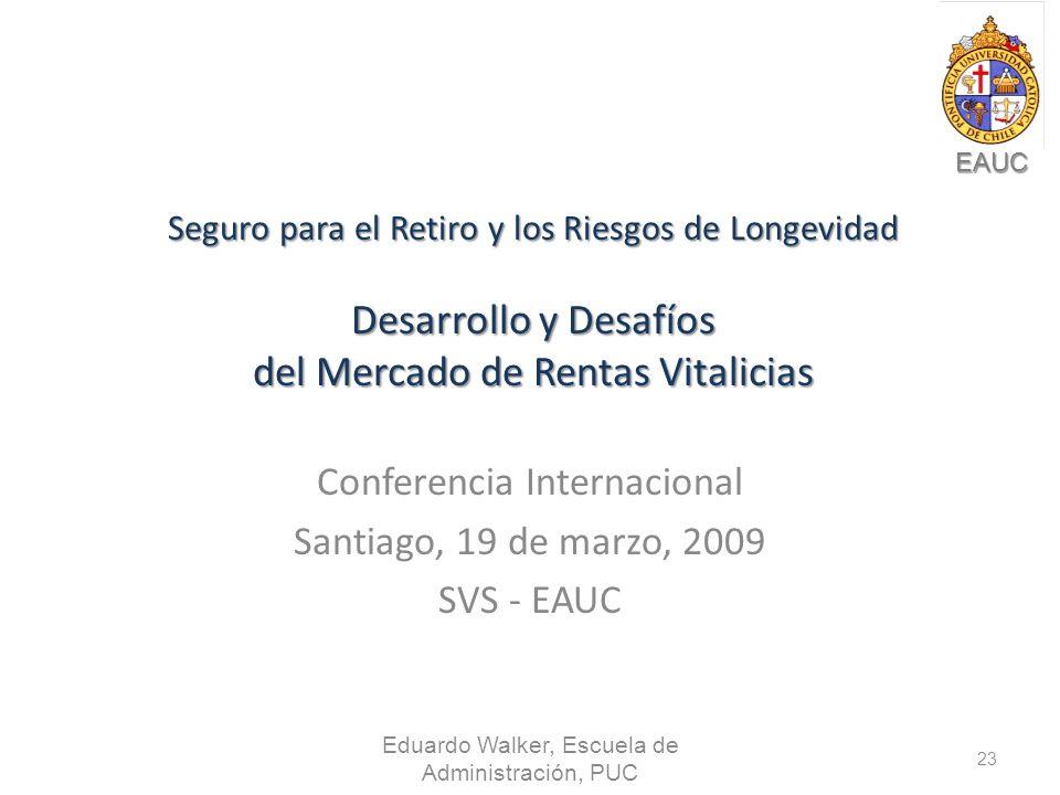 EAUC Seguro para el Retiro y los Riesgos de Longevidad Desarrollo y Desafíos del Mercado de Rentas Vitalicias Conferencia Internacional Santiago, 19 de marzo, 2009 SVS - EAUC Eduardo Walker, Escuela de Administración, PUC 23