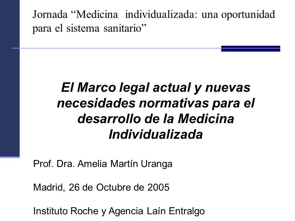 El Marco legal actual y nuevas necesidades normativas para el desarrollo de la Medicina Individualizada Prof. Dra. Amelia Martín Uranga Madrid, 26 de